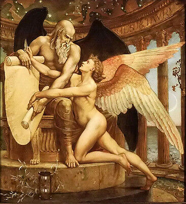 Oil painting walter crane - the roll of fate old man with angel hand painted art