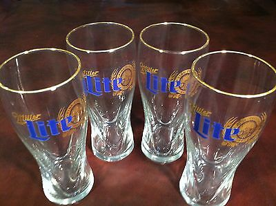 Collectible Advertising (4) Miller Lite Beer Pint Glasses 16 Oz Blue & Gold