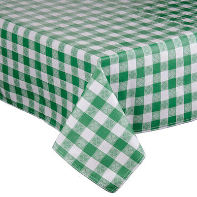 Green-Checkered Vinyl Table Cover with Flannel Back - 25 Yard Roll