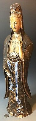 SIGNED Antique Chinese Porcelain Buddha GuanYin Statue Flambe blanc de chine