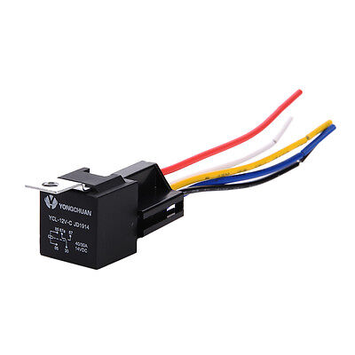 12V 40/30A SPDT Waterproof Relay Switch Harness Set (5-Pin 12 AWG Hot Wires)