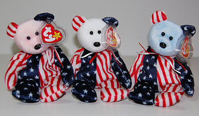 Ty Spangle Trio Beanie Babies Patriotic 3 Bears Red White Blue Faces