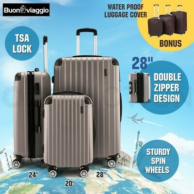 3pc Luggage Suitcase Trolley Set TSA Hard Case Lightweight-Champagne