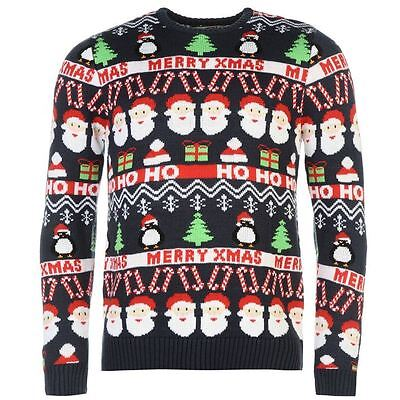 Star Mens Christmas Knit Jumper Ribbed Pullover Long Sleeve Crew Neck Top