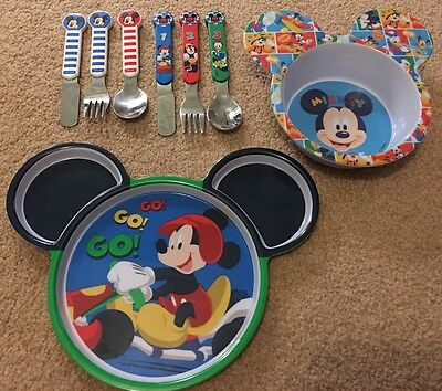 Mickey Mouse Clubhouse Melamine Bowl, Plate & Cutlery - Disney Store