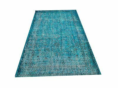 "6'6""  X 3'3""   Turkish Vintage Turquoise BLUE  Overdyed carpet rug tapis teppich"