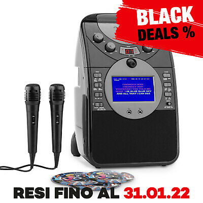 Auna Karaoke Lettore Cd+G Cd-Rw Porta Usb Mp3 Scheda Sd Display Led Avi Nero