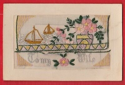 WW1 Embroidered silk postcard, To my wife, greetings. 1914-1918,