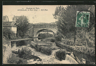 formidable CPA Souillac, Le Pont Neuf 1912