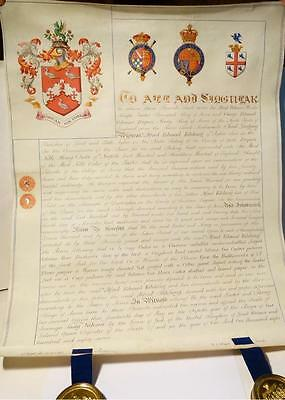 Antique 1887 Alfred Edward Kitching Gt Ayton GRANT OF ARMS Document & 2 Seals