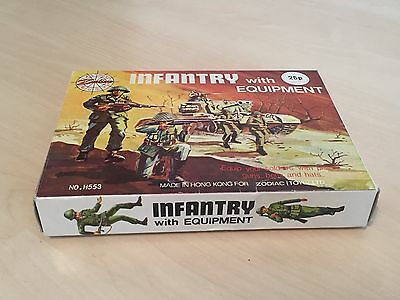 Rare Vintage Boxed Complete Zodiac Toys Infantry + Equipment Plastic Soldiers