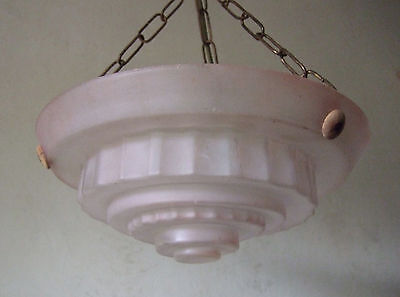 Antique French Art Deco Pink Glass Chandelier Ceiling Light 1930's