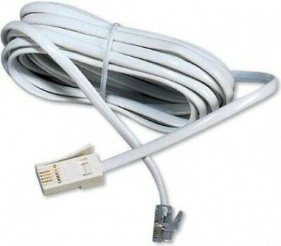 Titan RJ11-BT Plug 4-Wire Line Cord Telephone Cable | White 3m Lead