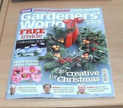 BBC Gardeners' World magazine DEC 2016 Winter Colour, Christmas + 2017 Calendar