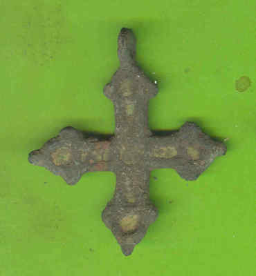 5906 Ancient Viking Enamel Bronze Cross Kievan Russia Ukraine ca 1100 Byzantine
