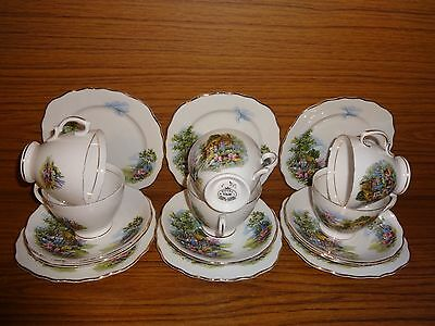 Vintage ROYAL VALE Country Cottage Garden 18 Pce Tea Set (6 x Trios) FREE UP P&P