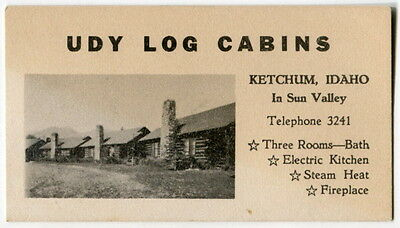 "Vintage Illustrated Business Card: ""UDY LOG CABINS"" - Ketchum, Idaho"