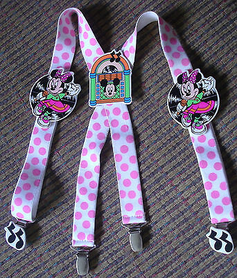 1990 Mickey+Minnie Mouse MUSIC Theme Girl Suspenders~Braces*Be Bop*Hip Hop*Avon