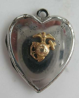 Wwii Bliss Brothers Usa Marine Sterling Gold Sweet Heart Puffy Locket Pendant