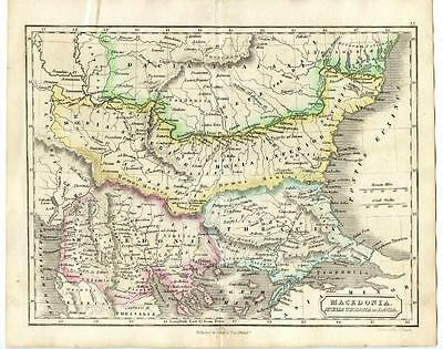 """1838 Copper Engraving Hand Colored Map Macedonia J. Yeager 10.5"""" x 8.5"""""""