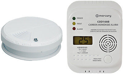 Mercury Smoke Alarm & CO Carbon Monoxide Alarm with LCD Display Set - Twin Pack