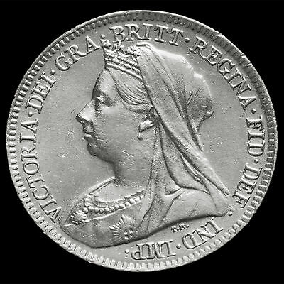 1900 Queen Victoria Veiled Head Silver Sixpence – A/UNC