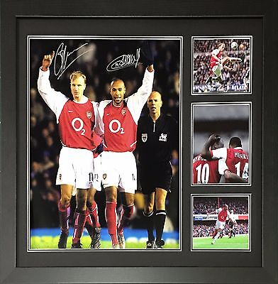 Framed Henry & Bergkamp Dual Signed Arsenal Football Photo With Proof & Coa