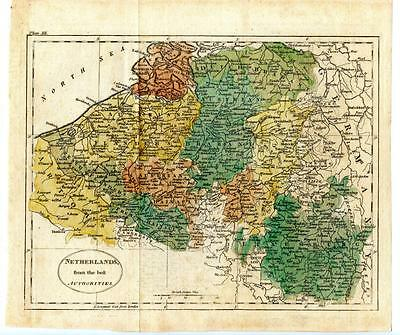 "1700s Copper Engraving Hand Colored Map Netherlands Luxemburg 9.5"" x 8.5"""