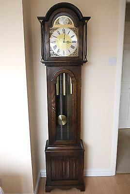 Jaycee Old Charm Oak Grandfather clock. Westminster Chimes 8 Day.