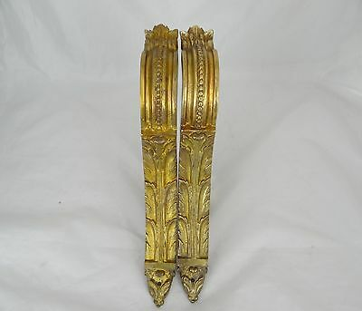 Antique French Pair Curtain Rod Holder  Gilt Bronze