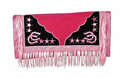 Western Barrel Rodeo Show Saddle Pad With Fringes- Pink