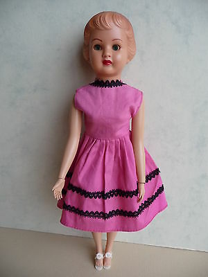 "Vintage AGRESPOLY DOLL hard plastic 10"" tall ORIGINAL OUTFIT 1960s"