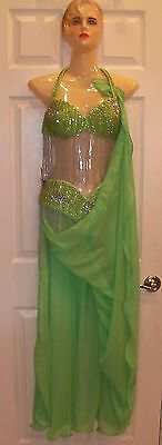 Professional Egyptian hand made 3- pieces Bra + Belt + Skirt Belly Dance Costume