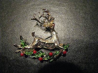 Vintage Christmas Pin Brooch Reindeer Jumping Over Holly Unmarked P2