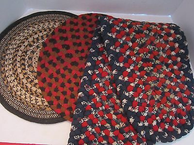 "Lot of 3 Rag Rug Braided 2-14"" Chair Pads & 9""x66"" table runner. Red Blue"
