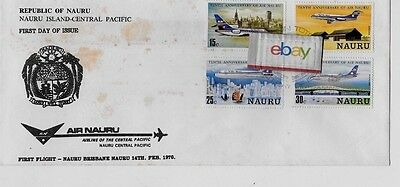 Air Nauru First Flight Cover & 4 Fleet Stamps Nauru/brisbane Australia 2-28-80