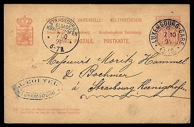 1891 Luxembourg classic postal stationery card 10 rate to Strasbourg