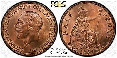 Great Britain 1/2d Half Penny 1935 MS64 RB PCGS bronze KM#837 George V Much RED