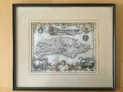 1840 Framed Hand Coloured Map of Sussex from Metal Etching