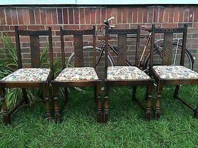 Set Of 4 Vintage Elm Dining Chairs Beautifully Carved Vgc -can Courier