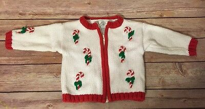 Heartstrings Newborn 3 Months Zip Christmas Sweater Cardigan Baby Candy Cane