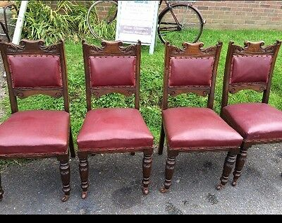 Set Of 4 Antique Oak Red Leather Dining Chairs Vgc Can Courier
