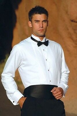 New Free Gold Studs Links 100% Cotton White French Cuff Wing Collar Tuxedo Shirt