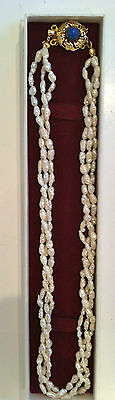 """Freshwater Pearl-16""""- 3-Stranded Necklace With Silver, Gold Plated & Lapis Clasp"""