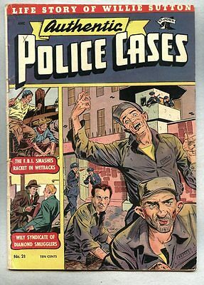 Authentic Police Cases #21-1952 fn pre-code crime St John Willie Sutton