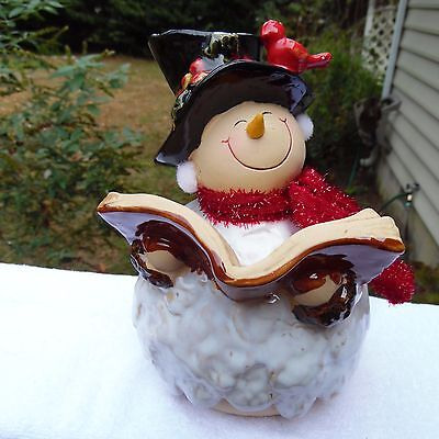 "Snowman Figurine, Reading Book, Red Scarf,new 8""x5"""