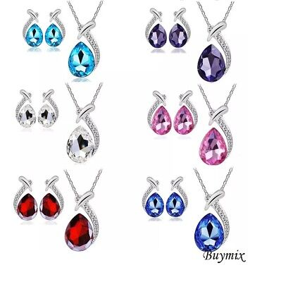 Crystal Drops Jewellery Set, Stud Earrings, Necklace and Pendant, Ladies Gift