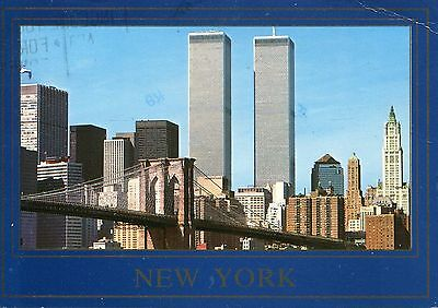Alte Postkarte - New York with Twin Towers