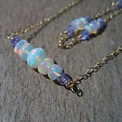 Ethiopian Opal & Tanzanite 14kt Gold Chain Necklace and Bracelet Set - USA Made