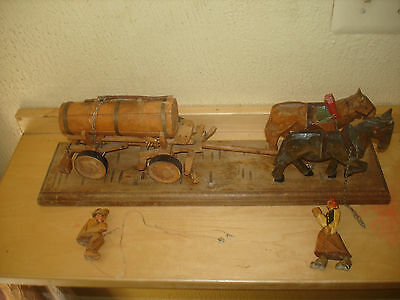 Vintage Carved Wooden Beer Wagon Horse Ox Tanker Figures 1930's Item
